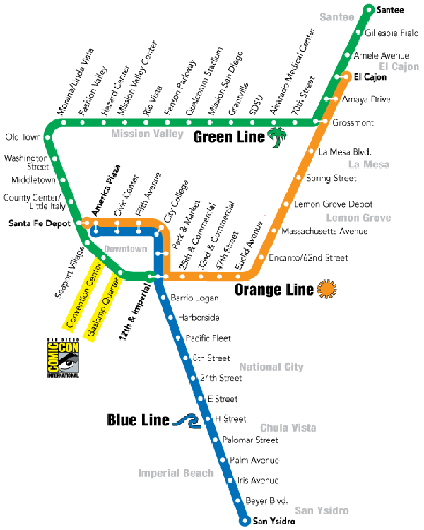 MTS Trolley Service Map
