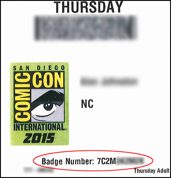 Comic-Con Badge Number Location