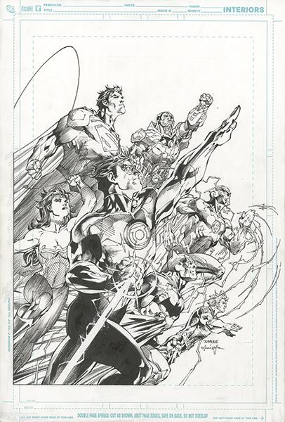 Original Justice League art by Jim Lee and Scott Williams for the 2011 Comic-Con International Souvenir Book