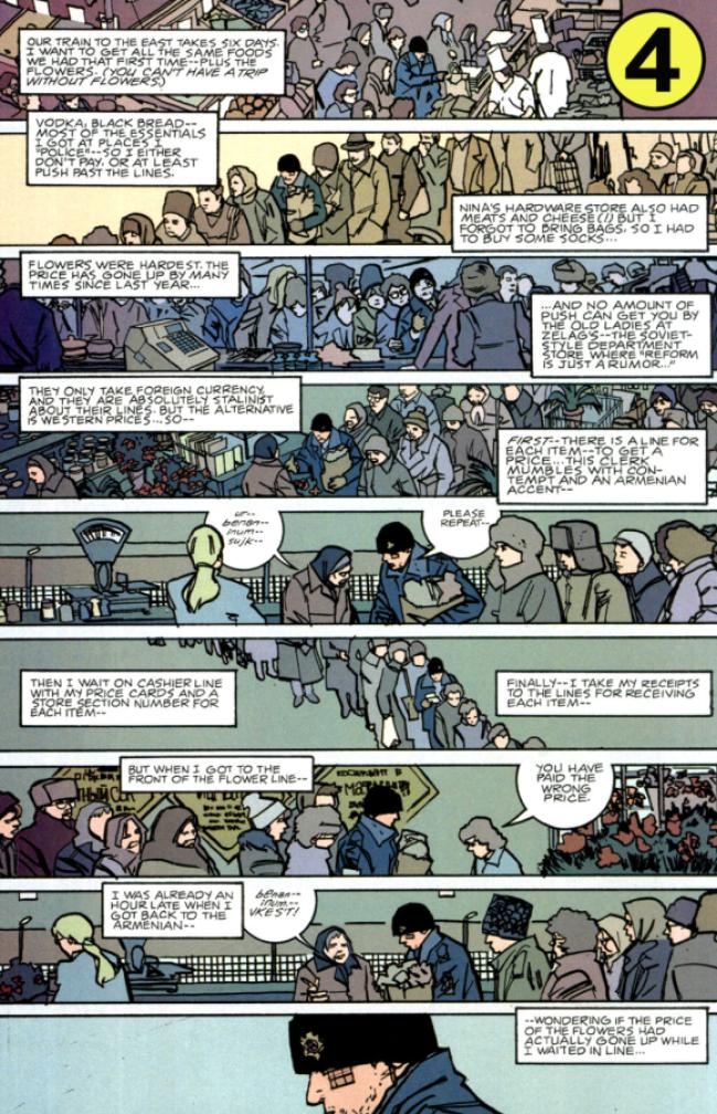 Crowd scene from The Winter Men #1, copyright 2005 Brett Lewis and John Paul Leon