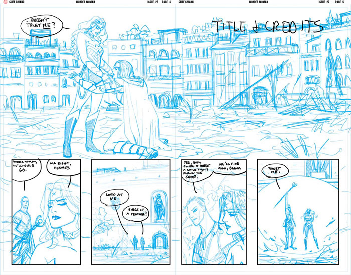 Wonder Woman #27, Pages 4 and 5 Pencils