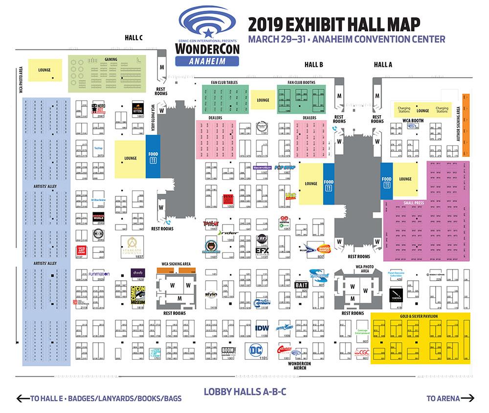 WonderCon Anaheim 2019 Exhibit Hall Map