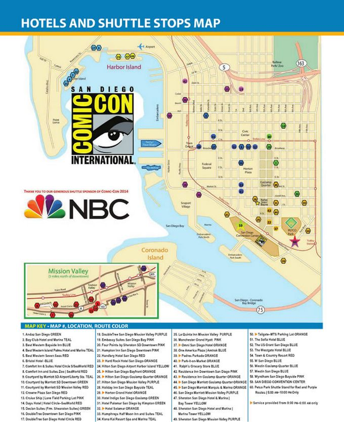 Comic-Con 2014 Hotels and Shuttle Map