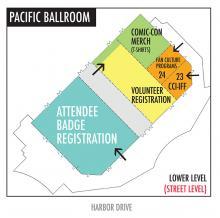 Comic-Con 2016 Marriott Marquis Pacific Ballroom Map