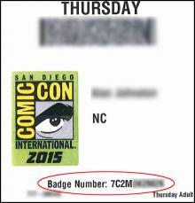 Comic-Con Badge Number Location