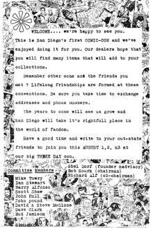 1970 San Diego Comic-Con Program Book Page 3