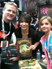 Dad, Evangeline Lilly, and Stella