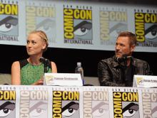 Yvonne Strahovski and Aaron Eckhart at Comic-Con International 2013