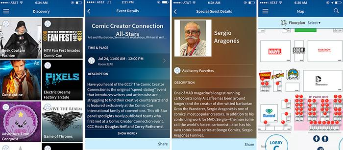 OFFICIAL Comic-Con App: iPhone Screens