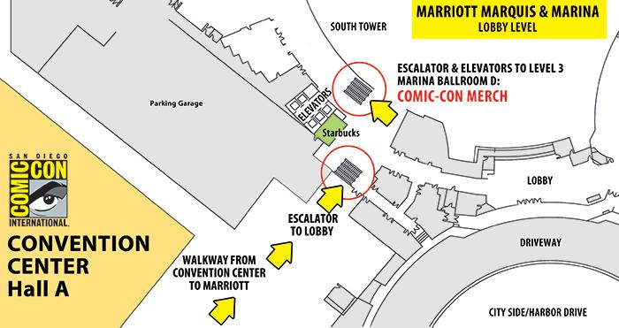 Comic-Con Merch T-shirt Pick-up and Sales Location
