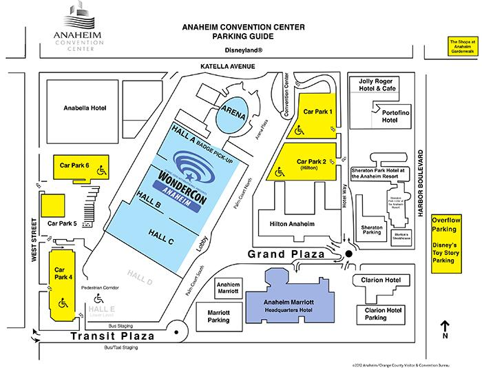 WonderCon Anaheim Parking Map