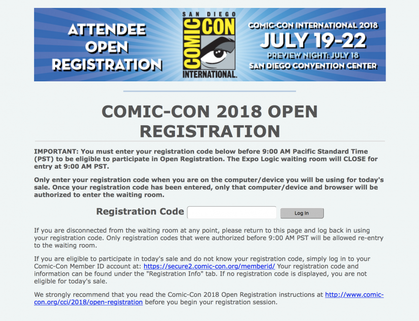 Comic-Con 2018 Open Registration