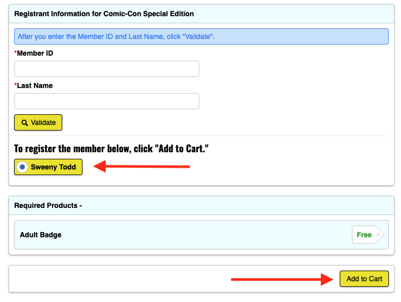 Click validate, add to cart