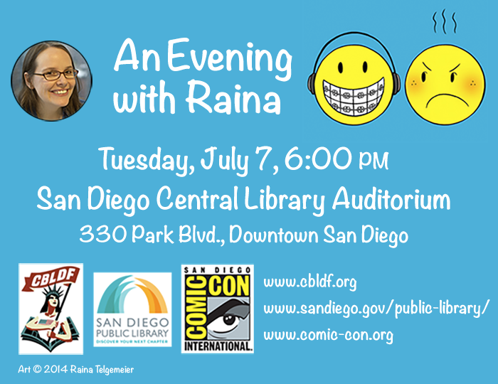 Raina Telgemeier at the San Diego Central Library July 7th