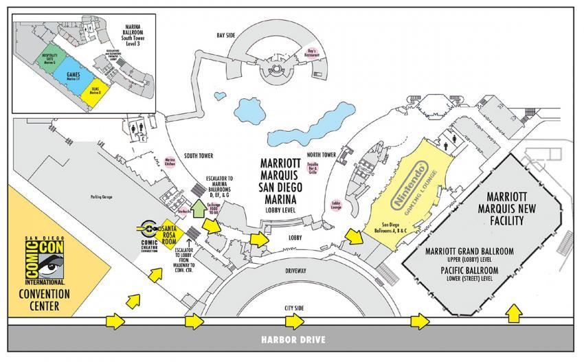 Comic-Con 2016 Marriott Marquis Hotel Map