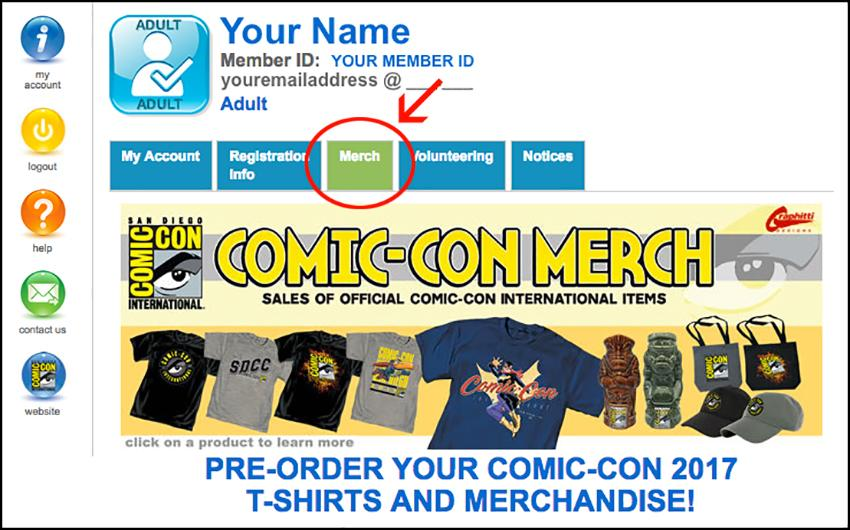 Comic-Con Merch on Member ID