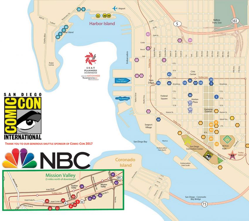 Comic-Con International 2017 Shuttle Bus Map