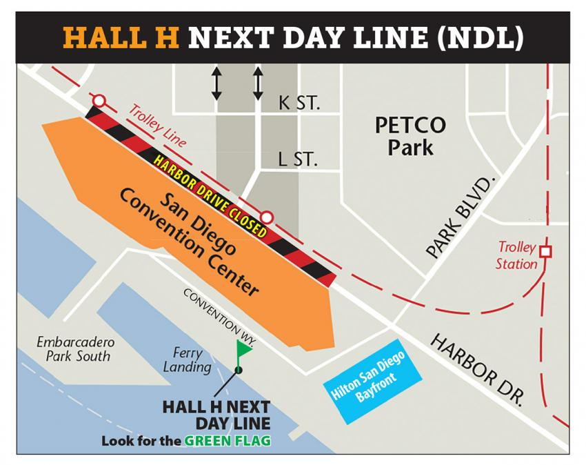 Comic-Con 2018 Hall H Next Day Wristband Map
