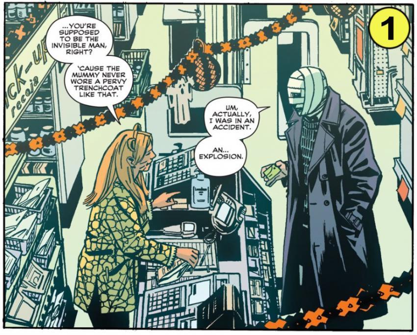 Pharmacy scene from Ex Machina Masquerade Special #3, copyright 2007 Brian K. Vaughan and Tony Harris