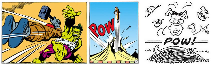 The Incredible Hulk by Jack Kirby; Peanuts by Charles M. Schulz