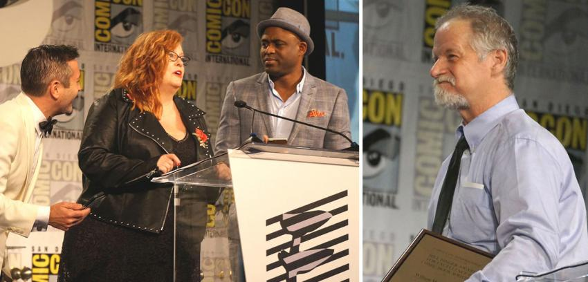 Thomas Lennon, Gail Simone, Wayne Brady, and William Messner-Loebs at the Eisner Awards at Comic-Con 2017