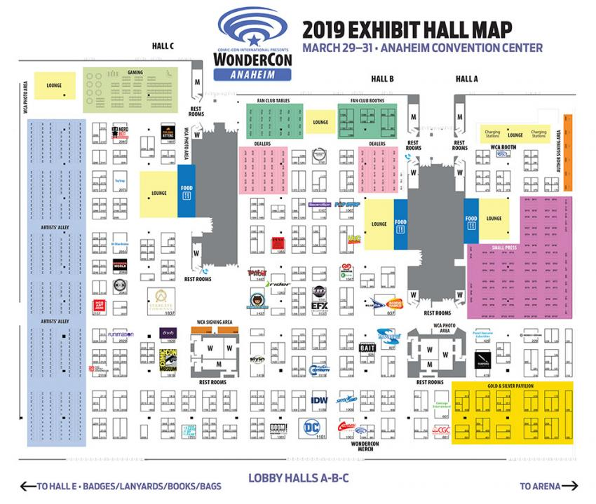 WonderCon Anaheim 2019 Exhibit Hall Map