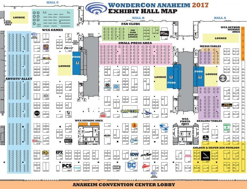 WonderCon Anaheim 2017 Exhibit Hall Map
